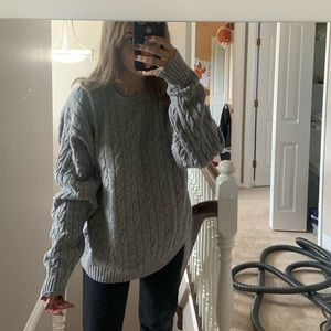 LL bean oversized chunky grey Sweater!!